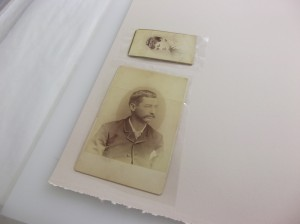 These photos have been attached to the BEVA film but the Mylar backing hasn't been removed yet.