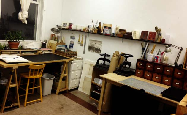 private artist studio used as a bindery